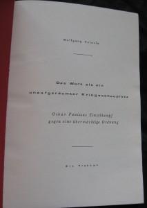 Die Titelseite des Privatdrucks