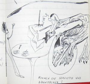 Notizbuch 32, Seite 268: Nehmen Sie Serviette und Zahnstocher