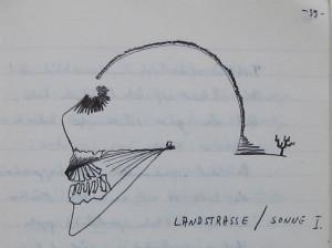 Notizbuch 33, Seite 39: Landstraße / Sonne I.