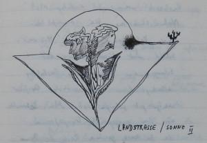Notizbuch 33, Seite 45: Landstraße / Sonne II.