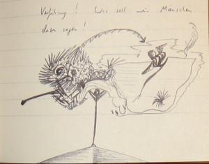 Notizbuch 32, Seite 54 (Detail: Was soll mein Mäuschen dazu sagen!)