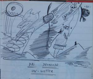 Notizbuch 32, Seite 70 (Detail: Das drohende Un-Wetter; 10.09.1981)