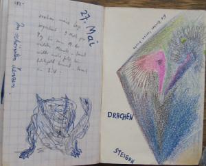 Notizbuch 34, Seiten 82/83: Schildkröte, Drachen